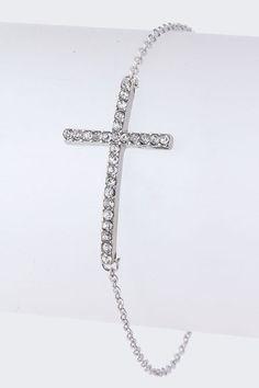 Silver Crystal Cross Bracelet on Emma Stine Limited