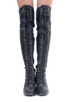 Love!!  KATHRYN AMBERLEIGH Seattle Knee High Combat Boots.