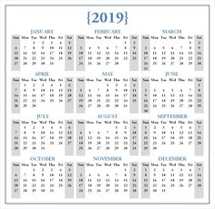 31 Amazing 2019 Calendar Template In One Pages Images