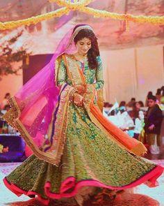 """""""#happybride #twirl #joy #mehndi #Dance #colorful #traditionaldress #signature #AliXeeshan #alixeeshankingdom ."""""""
