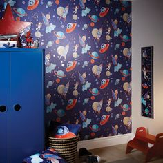 Arthouse Kids Wallpaper Boy UFO Astronaut Glitter Blue 668000