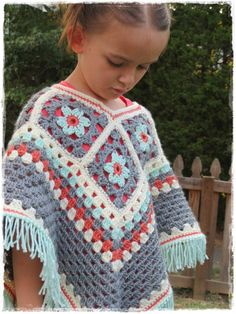 Items similar to Girls Flower Poncho-Kids-Fall Fashion-Crochet Granny Square-Fringe-Ages on Etsy - Crochet Baby Poncho, Crochet Flower Hat, Crochet Skirt Pattern, Crochet Square Patterns, Crochet Toddler, Crochet Poncho Patterns, Crochet Girls, Crochet Granny, Crochet For Kids