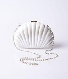 Ivory Seashell Push Lock Hard Clutch
