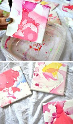 A tile dipped into water with nail polish dropped into it makes these beautiful coasters