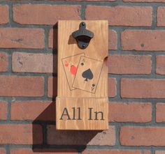 Poker Themed All In Wall Mounted Bottle Opener w/ Cap Catcher & Easy Removal - Great Gift For Dads, Drinkers, Man Caves, Card Players, etc! by GrizzlyBearCreations on Etsy