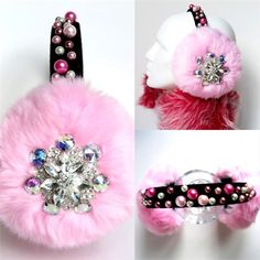 earmuffs pink/ faux fur earmuffs/scream queens Chanel 3 inspired embellished/ear warmers//crystal headpiece/christmas gifT for daughter These pink faux fur earmuffs are hand beaded delicately, are unique, and only one in the world! The headband is covered with beautiful pearls and giving the impression of blooming flowers. The huge faux fur covering each ear is adorned with a very big glamorous crystal jewel piece. 📌FOR EXPRESS SHIPPING PLEASE CONVO US YOUR PHON...