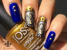 Gold x Blue Ornate Stamping Nail Art by Cassis P you can find it here https://youtu.be/M0gam1_IN4I
