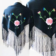 vtg 70s Floral embroidered FRINGE Cape shawl scarf wrap hipped GYPSY dress   #Fringe Starting bid $14.99
