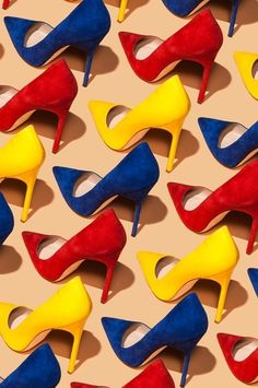 Lots of ... yellow red and blue shoes!