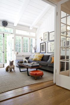Sunroom as living room with painted wood paneling, wood floors, and neutral colors. Would be perfect, if the walls were not stark white.