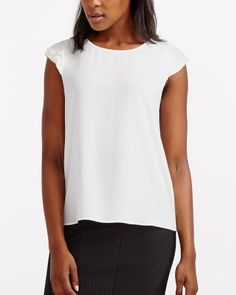 Pleated Sleeve Blouse Lacy White Canadian Clothing, Black Pants, Basic Tank Top, Ready To Wear, Feminine, Tank Tops, Blouse, Casual, How To Wear