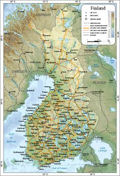 Large detailed map of Finland with cities and towns Finland Map, Cities In Finland, Finland Travel, Helsinki, Learn Finnish, Treaty Of Paris, Arctic Circle, Travel Maps, Norway