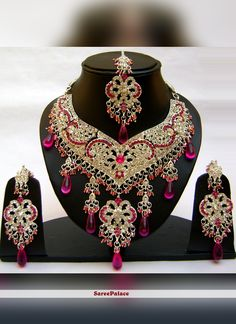 Buy Stone Work Gold and Pink Necklace Set Online Pink Necklace, Necklace Set, Wedding Jewellery Designs, Wedding Accessories, Hair Accessories, Indian Bridal Jewelry Sets, Bridal Jewellery, Stone Work, Vintage Costume Jewelry