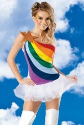 Rainbow Girl Fancy Dress Costume | Womens Sexy Fancy Dress Costume Party Outfits