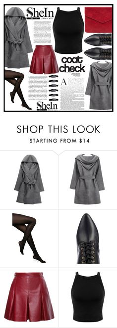 """""""she in"""" by ninakistyles ❤ liked on Polyvore featuring WithChic, Kate Spade, Balmain, Proenza Schouler, Miss Selfridge, Sheinside, shearlingcoat and shein"""