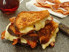 """The """"Heaven in Vermont Grilled Cheese"""" is made with Cabot Seriously Sharp Cheddar, applewood smoked bacon & Vermont maple syrup, of course!"""