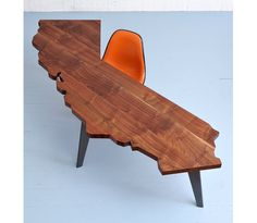 The California Desk, by Jared Rusten. made out of native California claro walnut. TEXAS would be a great craft table. Solid Wood Furniture, Furniture Design, Furniture Board, Diy Furniture, Madeira Natural, Craft Desk, Into The Woods, Wood Design, Design Desk