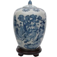 Porcelain 11-inch Blue and White Ladies Vase Jar (China) | Overstock.com Shopping - The Best Deals on Baskets & Bowls