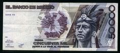 Mexico banknotes 50000 Pesos banknote of Cuauhtemoc.:Coins and Banknotes Money Images, Money Pictures, Mexican Peso, Gold Bullion Bars, Money Worksheets, World Coins, Weird World, Elder Scrolls, The Good Old Days