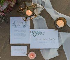 Greenery Wedding Invitation Set | Modern Wedding | Bohemian Wedding | Simple Wedding Announcement Set | Watercolor Leaves | Printable