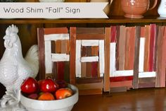 Fall sign made from wood shims