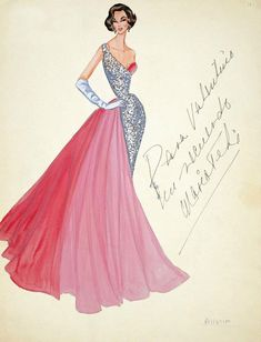 1950. Illustration by Valentino. His sketches are probably closest to framable art among other designers because he often uses color and makes them look like real paintings as oppose to just sketches