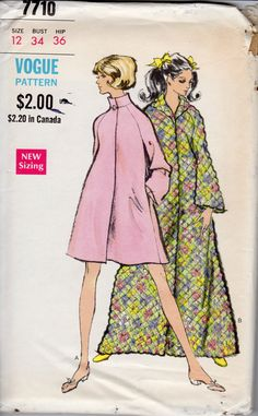 1960s Womens Robe Pattern - Vintage Vogue 7710 - Size 12 Bust 34 UNCUT FF by ErikawithaK on Etsy