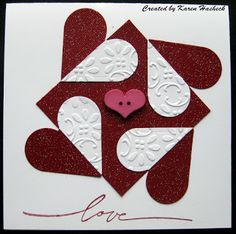handmade Valentine card from Karen's Kreative Kards ... fab graphic look with hears split in half and formaing a square ....
