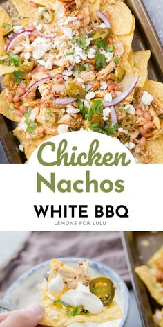 Chicken nachos are ready for anything!! Whether you are casually entertaining, having game day fun, or just looking for a quick dinner idea, these nachos are for you! The ingredients are simple but the flavor is HUGE! The white bbq sauce is the best! Healthy Salads, Healthy Eating, Yummy Snacks, Yummy Food, Chicken Nachos Recipe, White Bbq Sauce, Everyday Food, Good Food, Dinner Recipes