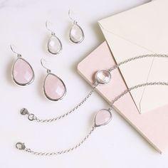 Minaret Rose Quartz Teardrop Earrings and Minaret Bracelet Set