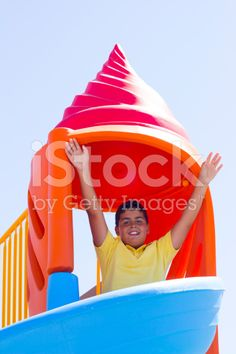 Boy Is Sliding Down The Slide royalty-free stock photo