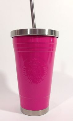 Starbucks Barbie Pink Stainless Steel Cold Water Travel Cup Straw powder-coated in Collectibles, Advertising, Food & Beverage | eBay