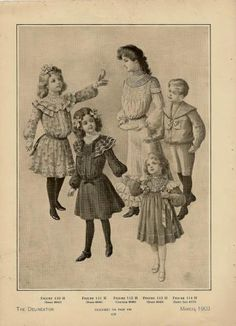 1903 Edwardian Fashion Chromolithograph Childrens Couture by PetitPoulailler on Zibbet