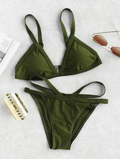 777c04c27c SheinShein Strappy Triangle Bikini Set. Amela Misa · stroje · Floral Swimsuit  Swimwear ...