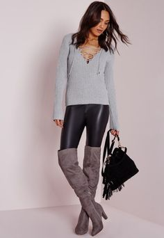 Lace Up Ribbed Knitted Jumper Grey - Knitwear - Jumpers - Missguided