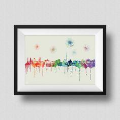 Berlin Skyline Rainbow Watercolor Map Art Print Berlin Germany Skyline Ink Splash Poster Art Canvas