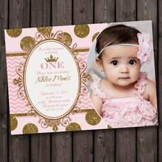 super cute first birthday invitation ,pink and gold customized, princess pink and gold invitations