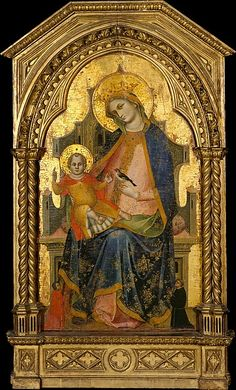 Madonna and Child Enthroned with Two Donors, circa 1356-72,  Lorenzo Veneziano, Venice. The Metropolitan Museum of Art