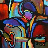 I like this original painting. Visit www.GalleryToday.com for more! Music Painting, Music Artwork, Cubist Art, Jazz Art, Guitar Art, Cool Paintings, Art Pictures, Creative Art, Pop Art