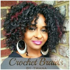 Crochet Braids with Freetress Barbadian Braid, color 1B with 99J highlights. #crochetbraids #protectivestyles #braids #hairextensions #teamnatural #bohemian #crochetbraidsbytwana #freetress #waterwave #curlyfro #99J #curlyfro #haircrush www.crochetbraidsbytwana.com