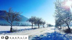 Jazdenie žiadna sláva ale pohľad stojí za to  #praveslovenske od @s_a_s_h_u_l_a  ...on the way to highway  #slovensko #slovakia #snow #mountains #nature #sun #landscape #road #winter #sky #hill #trees #ice