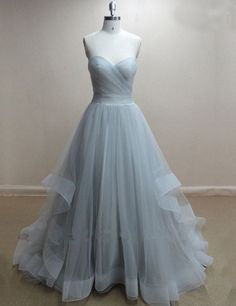 Elegant A-line Sweetheart Floor-length Grey Tulle Prom Dress,Cheap