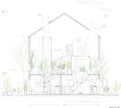 """Chiharada, Okazaki-city, Aichi, Japan House in Chiharada """"Deconstruction of a multi-floored architecture"""" STUDIO VELOCITY Architecture Graphics, Architecture Drawings, Architecture Plan, Architecture Models, Detailed Drawings, Amazing Drawings, Technical Drawings, Section Drawing, Architectural Section"""