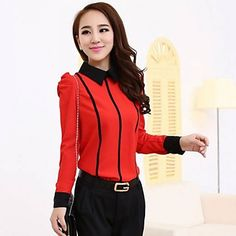 Luto Korean Styles Office Ladys Contrast Color Stripes Puff Sleeves Base Chiffon Shirt – USD $ 12.99