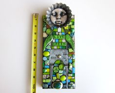 LIVE GREEN  handmade mixed media mosaic art doll assemblage art recycle upcycle repurposed art stained glass polymer clay