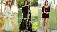 Stylish Party Wear Pakistani Kurta With Sharara Designs 2018 Sharara Designs, Kurta Designs Women, Tapas, Latest Pakistani Dresses, Pakistani Kurta, Ladies Party, Eid, Party Wear, Kimono Top