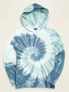 Tie Dye in blue / Garment-Dyed French Terry Pullover Hoodie for Boys Tie Dye Colors, Blue Tie Dye, Bleach Tie Dye, Tye Dye, Diy Pullover, Diy Tie Dye Shirts, Stylish Hoodies, Tie Dye Techniques, How To Tie Dye