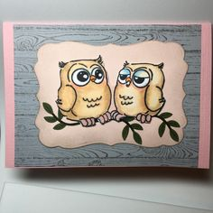 Art Impressions: Ai Whoots! Chatting Whoots. Handmade owl themed card.