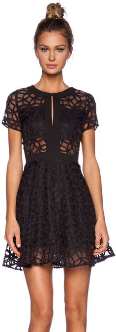 Lucca Couture Sheer Panel Dress