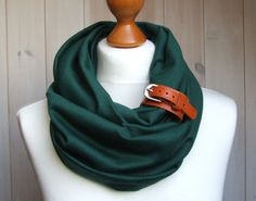 TUBE Scarf in BOTTLE GREEN Infinity circle Loop with leather cuff, infinity scarves. $32.90, via Etsy.